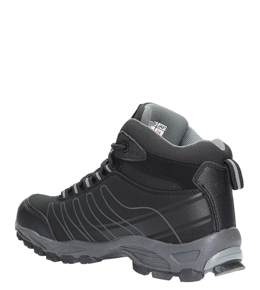 Czarne buty trekkingowe sznurowane softshell Casu B1530-1 wierzch skóra ekologiczna
