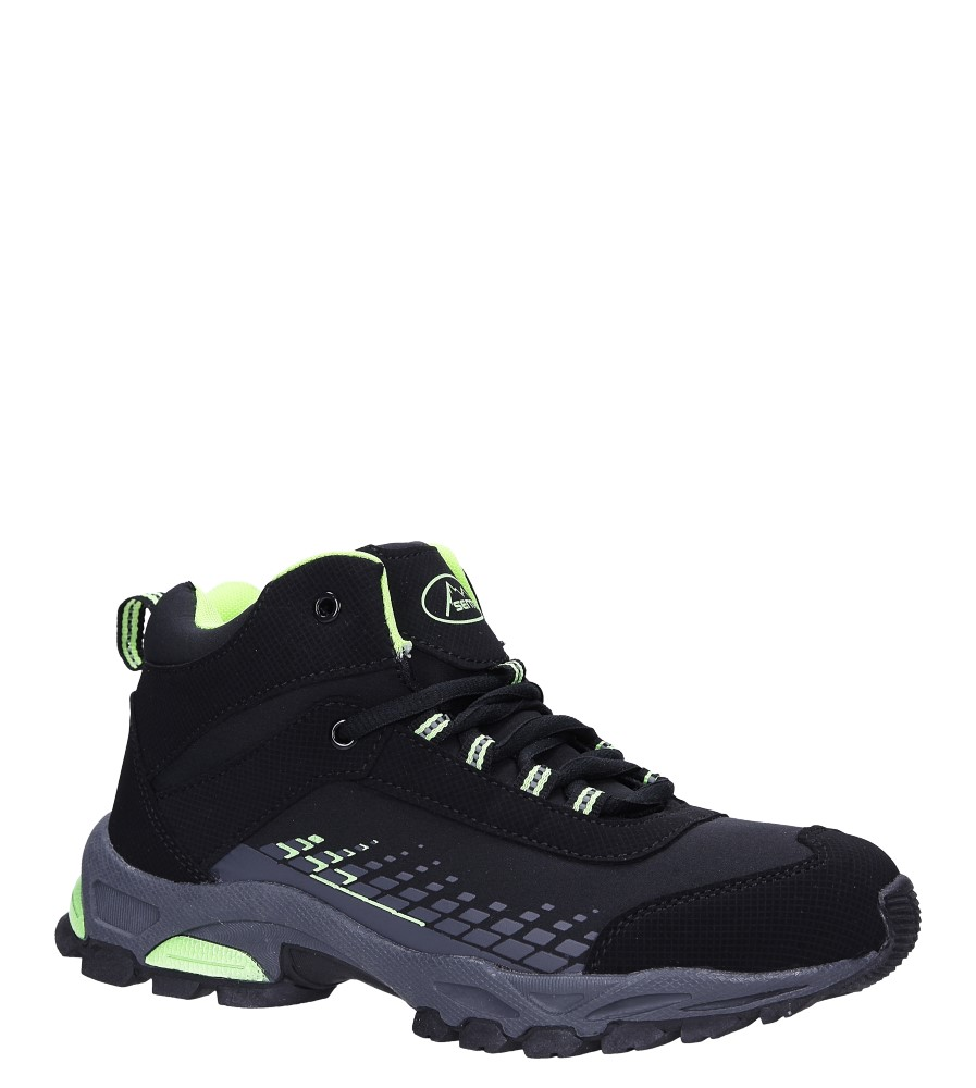 Czarne buty trekkingowe sznurowane softshell Casu B1811-2