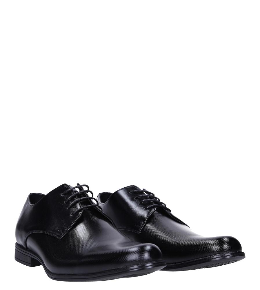 Czarne buty wizytowe sznurowane Casu EXC397 kolor czarny