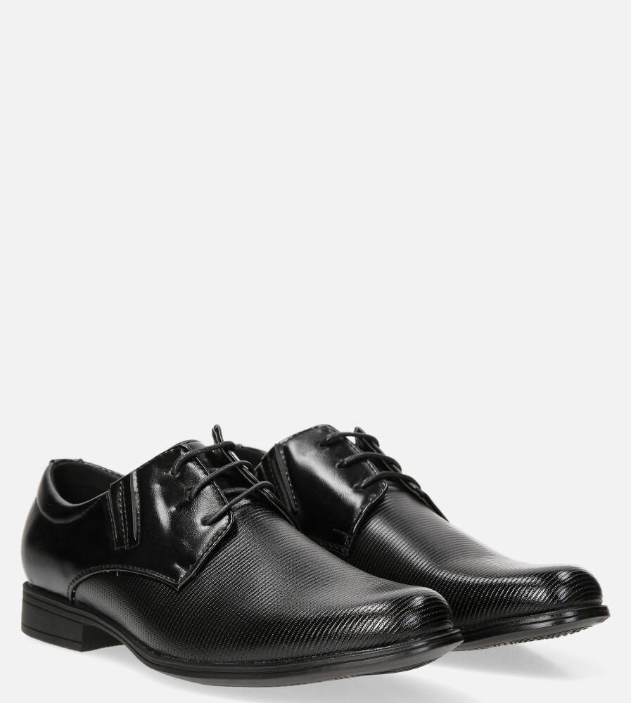 Czarne buty wizytowe sznurowane Casu LXC395