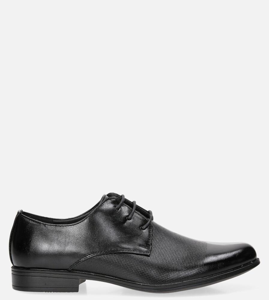 Czarne buty wizytowe sznurowane Casu LXC410 czarny