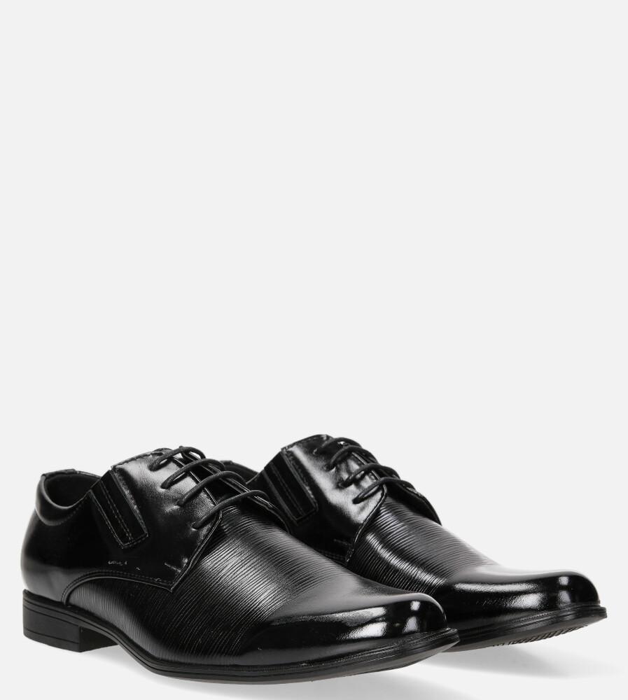 Czarne buty wizytowe sznurowane Casu MXC408