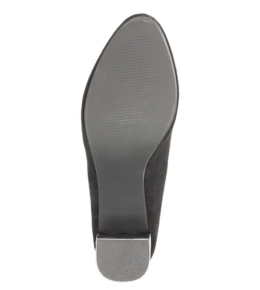 Czarne czółenka z ozdobnym obcasem Sergio Leone PB178 wkladka skóra