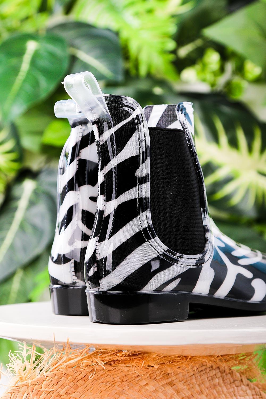 Czarne kalosze sztyblety zebra Casu YJ-21