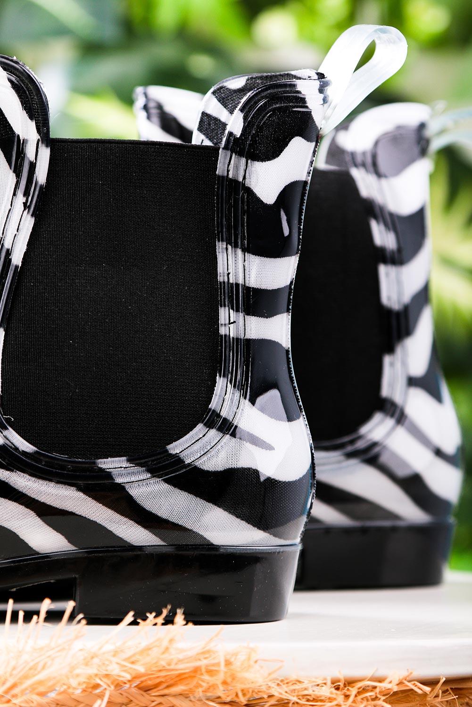 Czarne kalosze sztyblety zebra Casu YJ-21 style Zwierzęce motywy