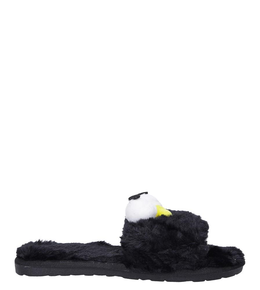 Czarne kapcie klapki z futerkiem z dużymi oczami Casu F-1