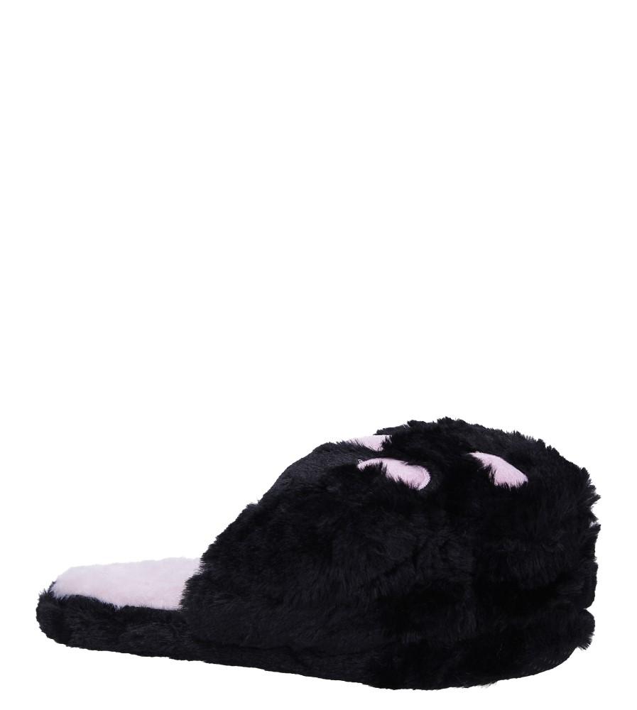 Czarne kapcie łapy z futerkiem Casu WT-5 czarny