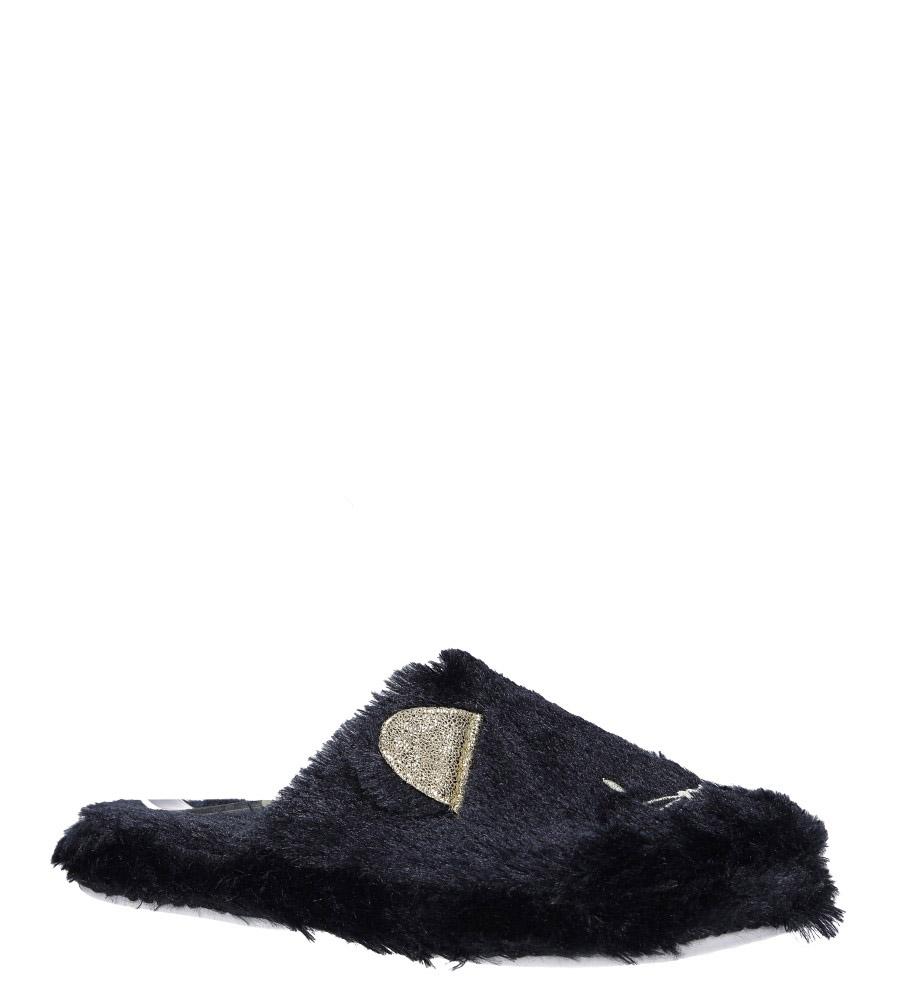 Czarne kapcie z futerkiem kotek Casu F-5 czarny
