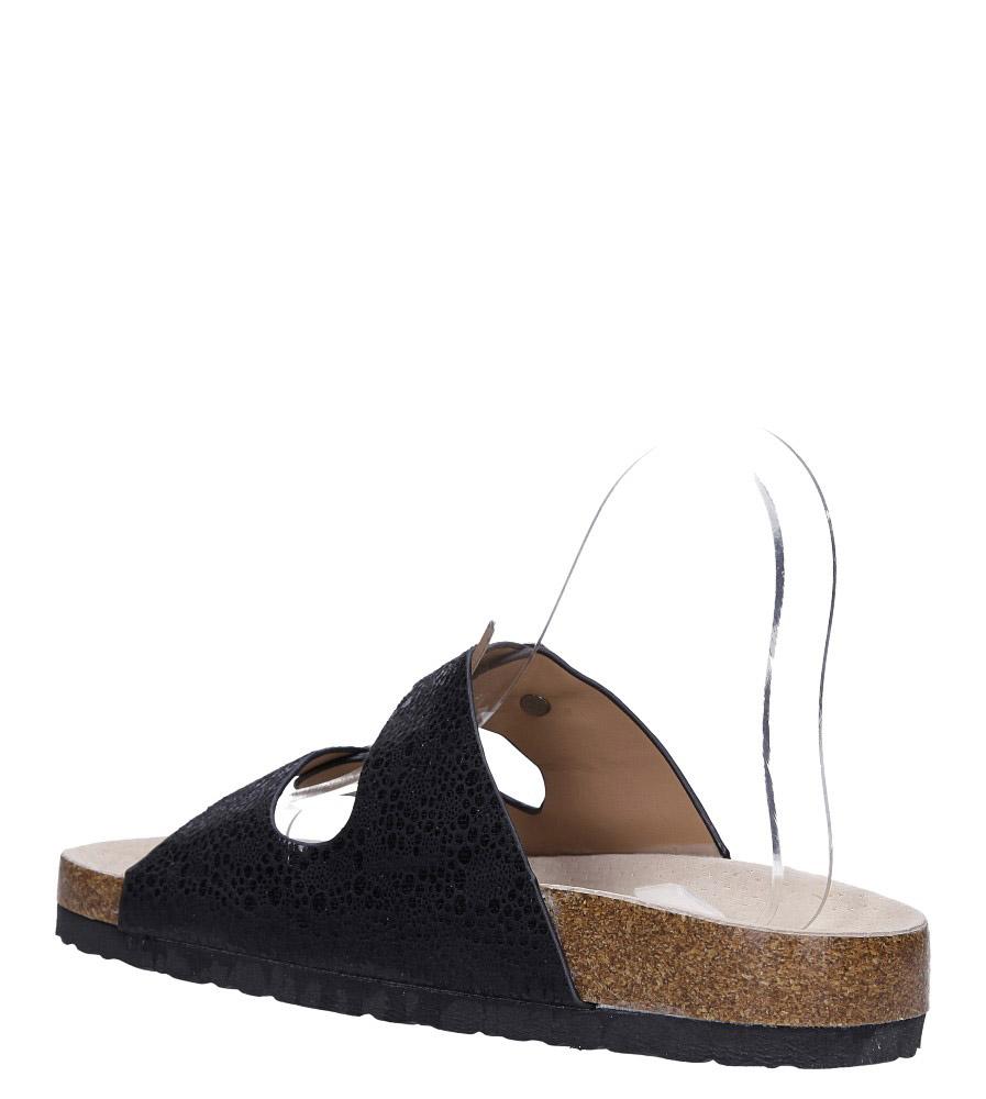 Czarne klapki błyszczące z dwoma paskami ze skórzaną wkładką i profilowaną korkową podeszwą Casu B18X2/B54 wys_calkowita_buta 10.5 cm