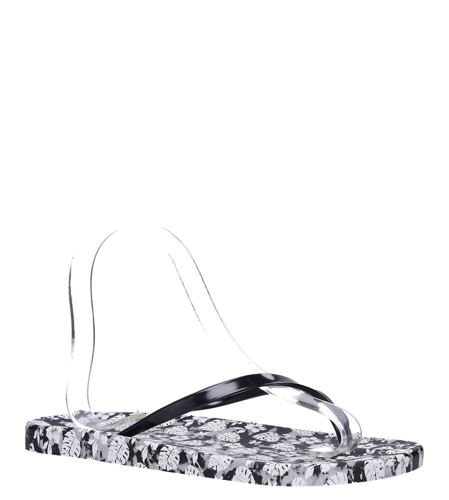 Czarne klapki japonki basenowe w kwiatki Casu 2158-166 czarny