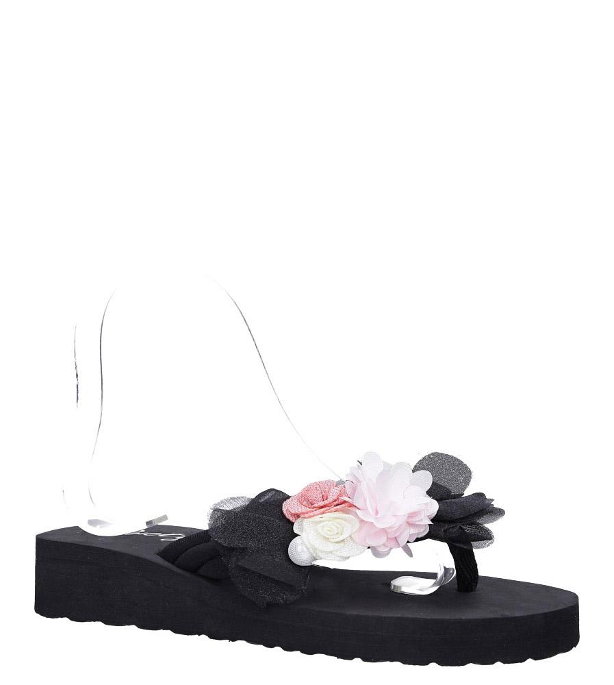 Czarne klapki japonki na koturnie z kwiatkami Casu 198-20 czarny