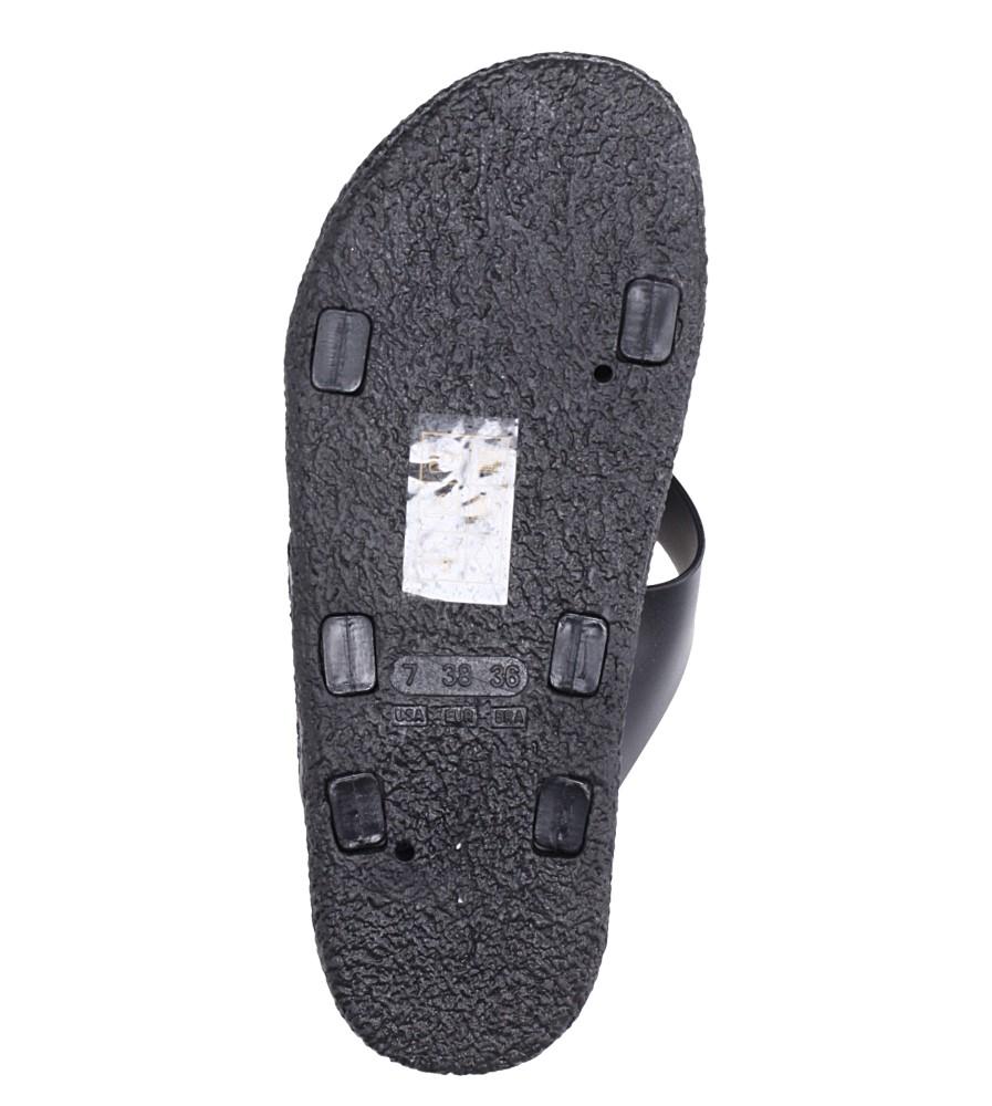 Czarne klapki z paskiem brokatowym na krzyż Casu B19X4/B wierzch guma