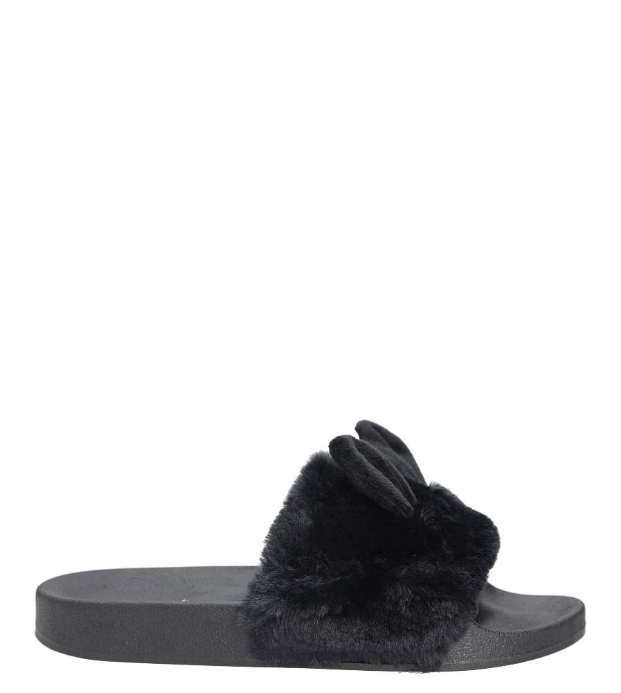 Czarne klapki z futerkiem Casu 232-1 wierzch futerko