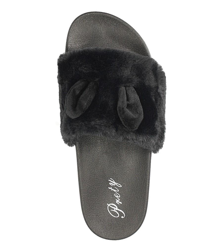 Czarne klapki z futerkiem Casu 232-1 wkladka guma
