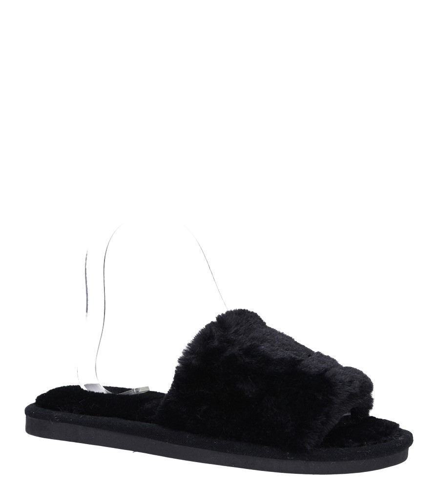 Czarne klapki z futerkiem Casu czarny