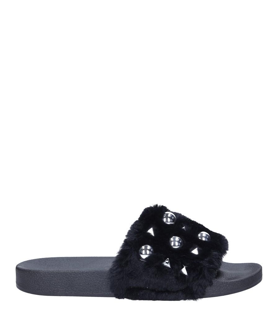 Czarne klapki z futerkiem i nitami Casu 232-5 wysokosc_platformy 1 cm