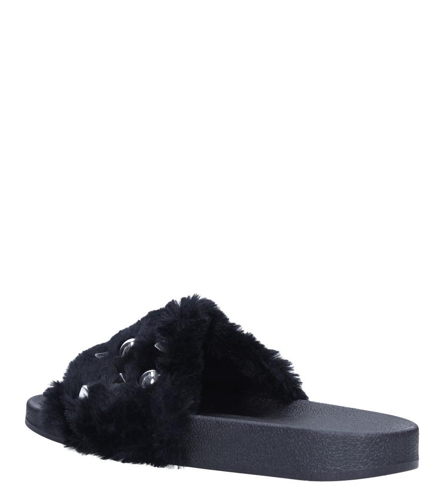 Czarne klapki z futerkiem i nitami Casu 232-5 wys_calkowita_buta 8 cm