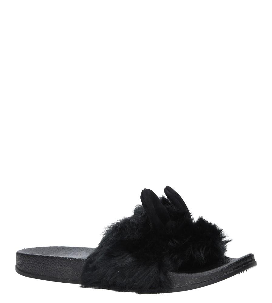 Czarne klapki z futerkiem i uszkami Casu SAM03A
