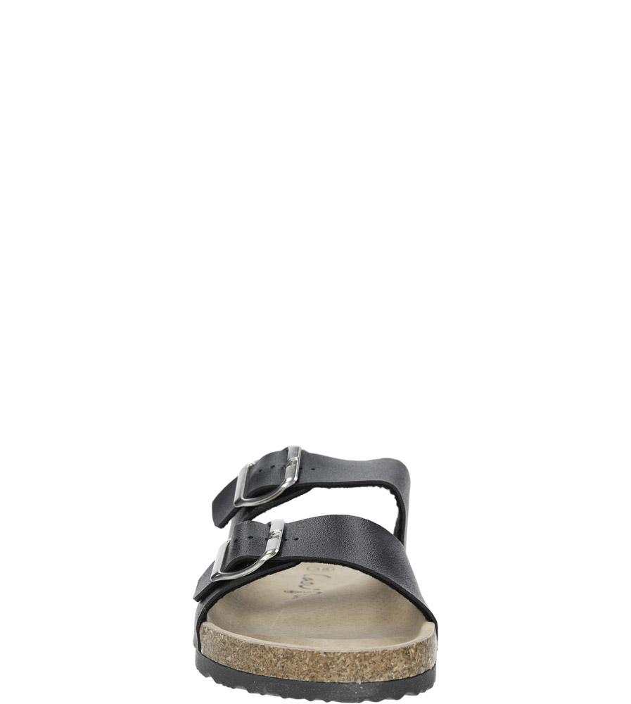 Czarne klapki zdrowotne z dwoma paskami z komfortową skórzaną wkładką i profilowaną korkową podeszwą Casu B18X2/B kolor czarny