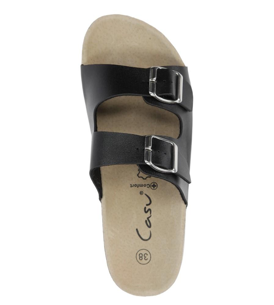 Czarne klapki zdrowotne z dwoma paskami z komfortową skórzaną wkładką i profilowaną korkową podeszwą Casu B18X2/B wysokosc_platformy 2 cm