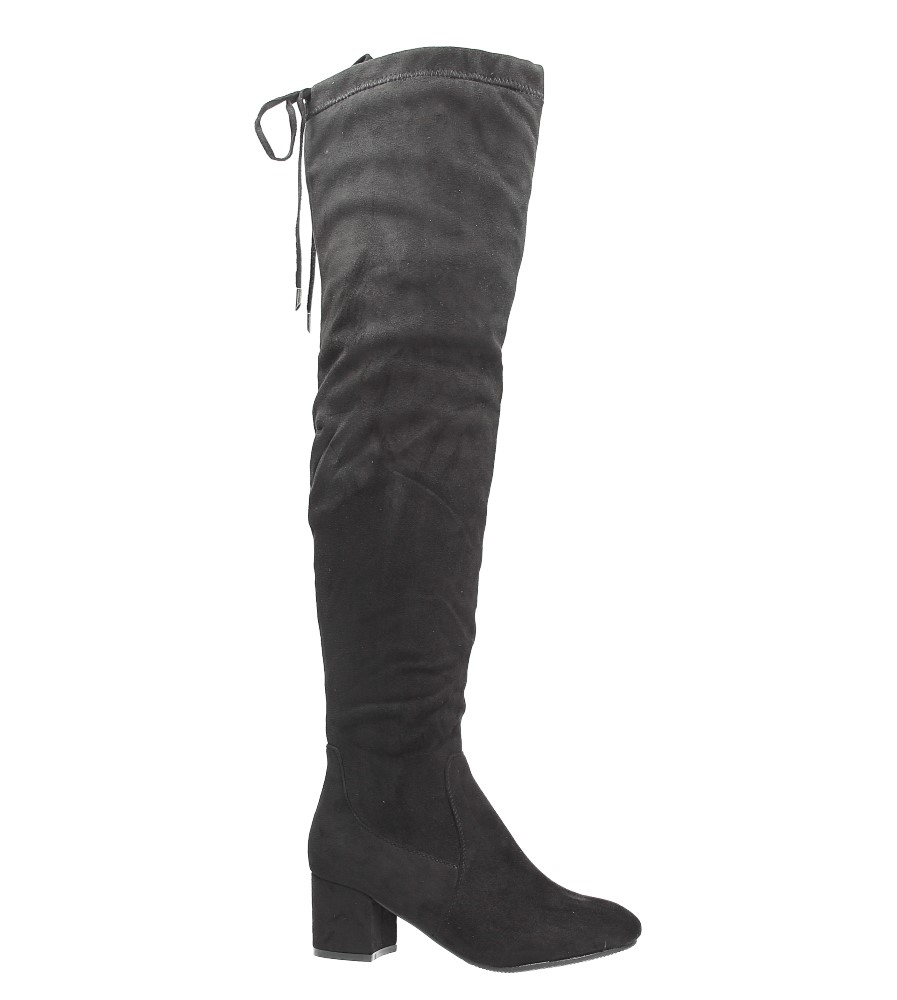 Czarne kozaki muszkieterki za kolano na niskim obcasie Casu W113-1 czarny