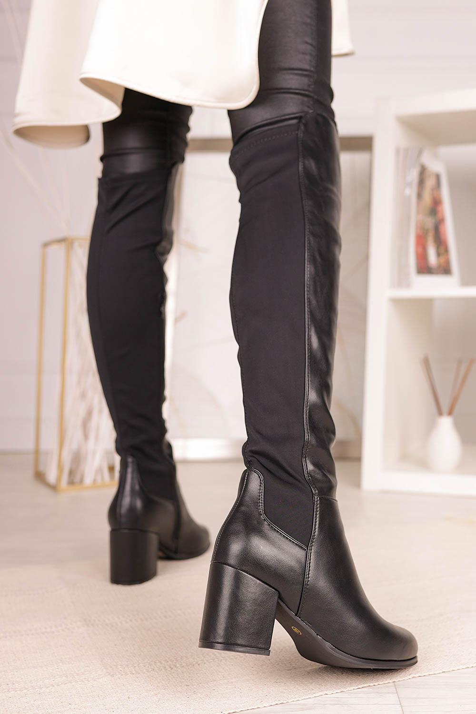 Czarne kozaki muszkieterki za kolano na szerokim słupku z lycrą w cholewce Casu G19X36/B model G19X36/B