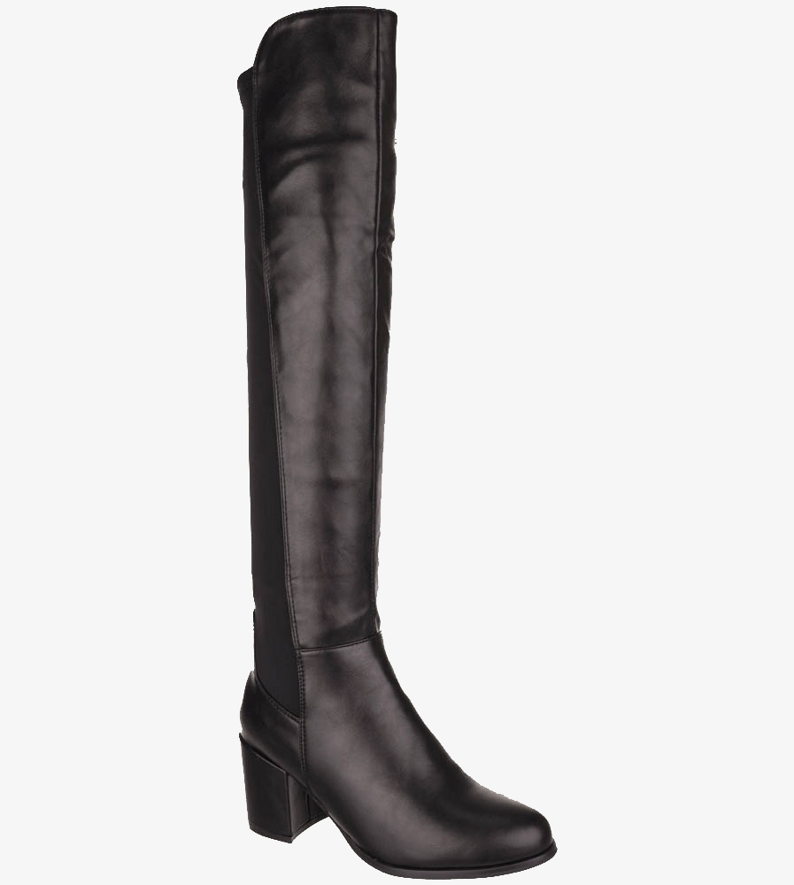 Czarne kozaki muszkieterki za kolano na szerokim słupku z lycrą w cholewce Casu G19X36/B wys_calkowita_buta 55 cm