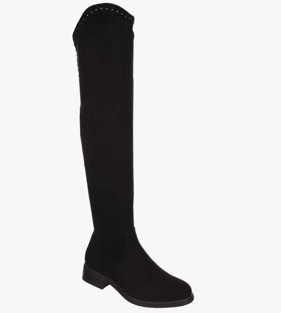 Czarne kozaki muszkieterki za kolano z nitami i ozdobnym suwakiem Casu G19X3/B wys_calkowita_buta 57 cm