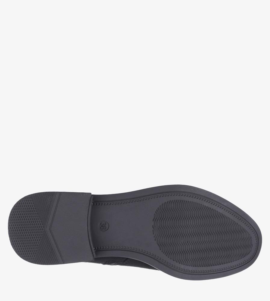 Czarne kozaki muszkieterki za kolano z nitami i ozdobnym suwakiem Casu G19X3/B obwod_cholewki_u_gory 38 cm
