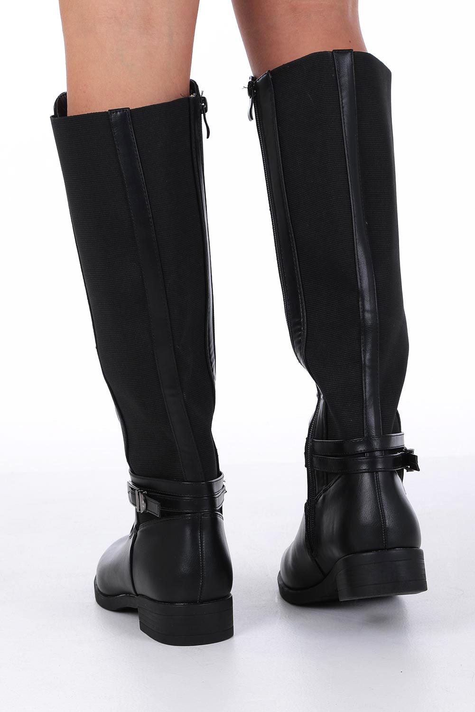 Czarne kozaki oficerki z gumą w cholewce i ozdobną klamerką Casu G19X6/BP wysokosc_platformy 1 cm