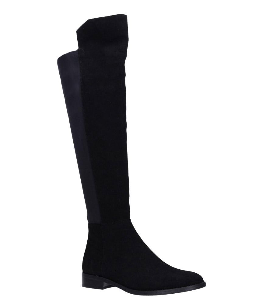 Czarne kozaki skórzane welurowe muszkieterki za kolano Nessi 71705