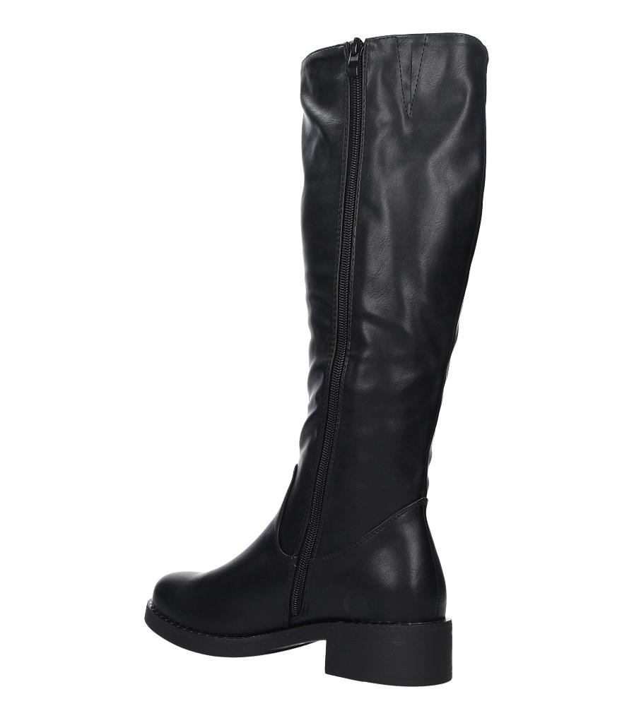 Czarne kozaki z nitami dookoła podeszwy Sergio Leone KZ280 wys_calkowita_buta 43 cm