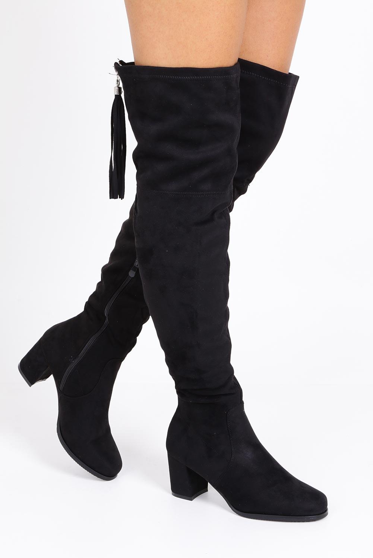 Czarne kozaki za kolano muszkieterki z frędzlami Casu 2018-7 model 2018-7