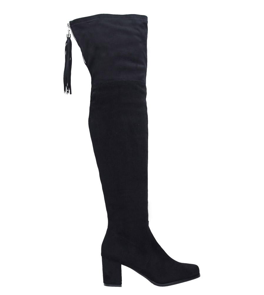 Czarne kozaki za kolano muszkieterki z frędzlami Casu 2018-7 wysokosc_platformy 1 cm