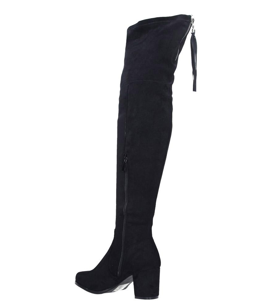 Czarne kozaki za kolano muszkieterki z frędzlami Casu 2018-7 wys_calkowita_buta 64 cm