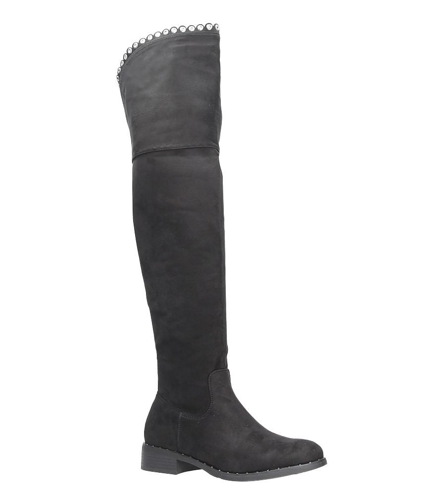 Czarne kozaki za kolano z nitami Casu 2018-9 model 2018-9