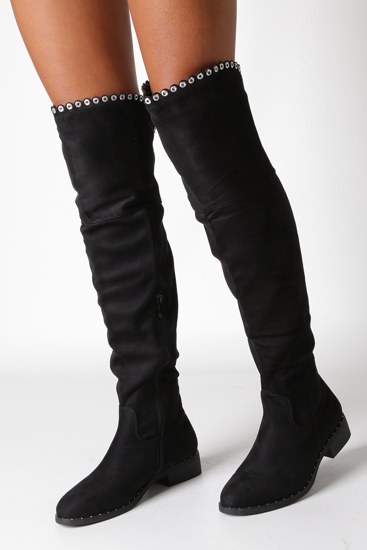 Czarne kozaki za kolano z nitami Casu 2018-9 kolor czarny