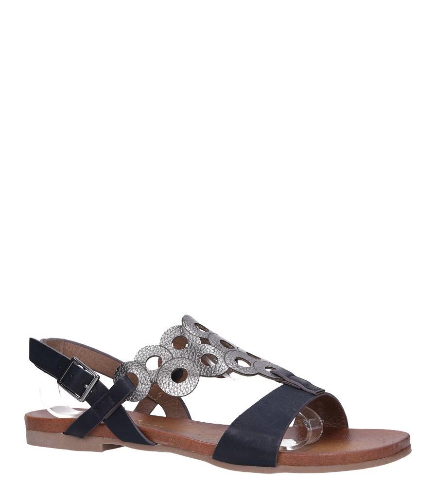 Czarne lekkie sandały płaskie ażurowe błyszczące Casu K19X14/B