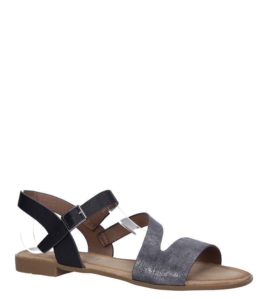 Czarne lekkie sandały płaskie błyszczące Casu K19X9/B