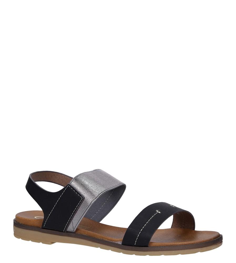 Czarne lekkie sandały płaskie z błyszczącą gumką Casu K19X7/B