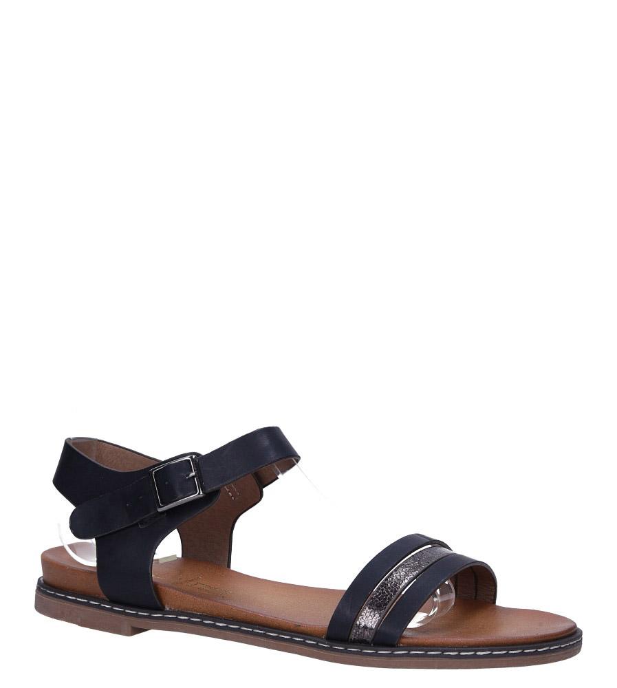 Czarne lekkie sandały płaskie z błyszczącym paskiem Casu K19X13/B