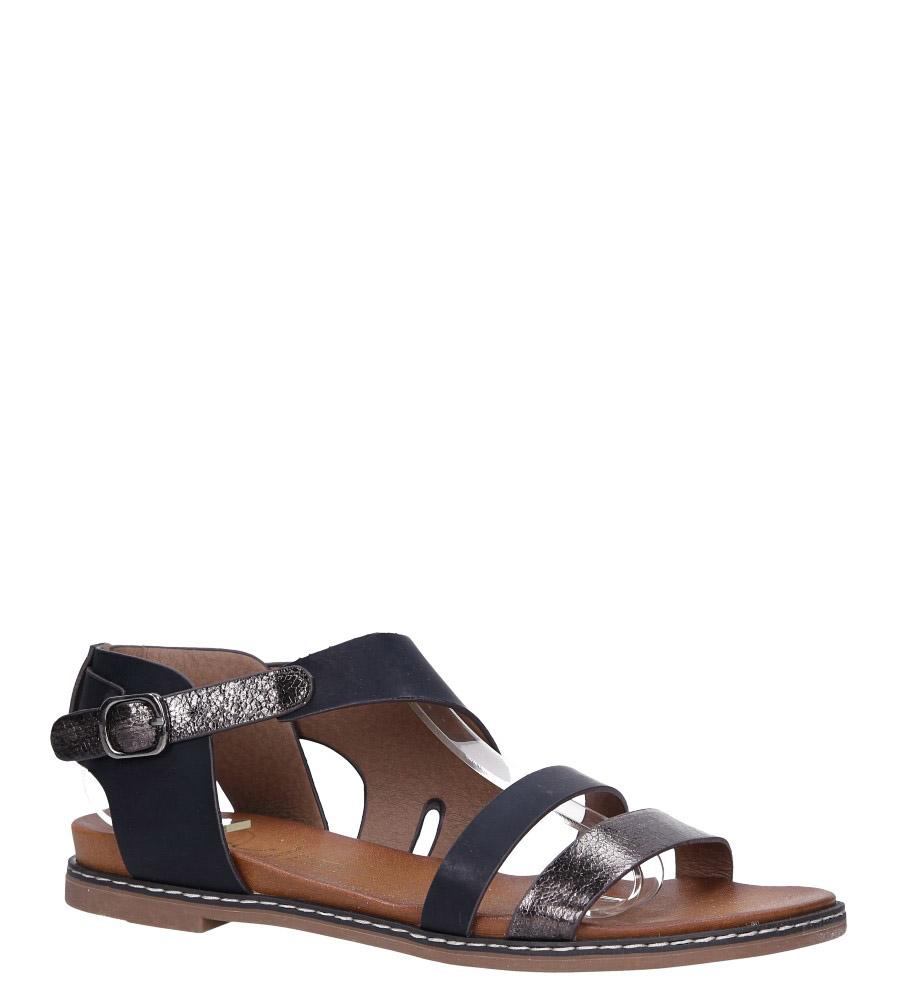 Czarne lekkie sandały płaskie z błyszczącym paskiem Casu K19X15/B