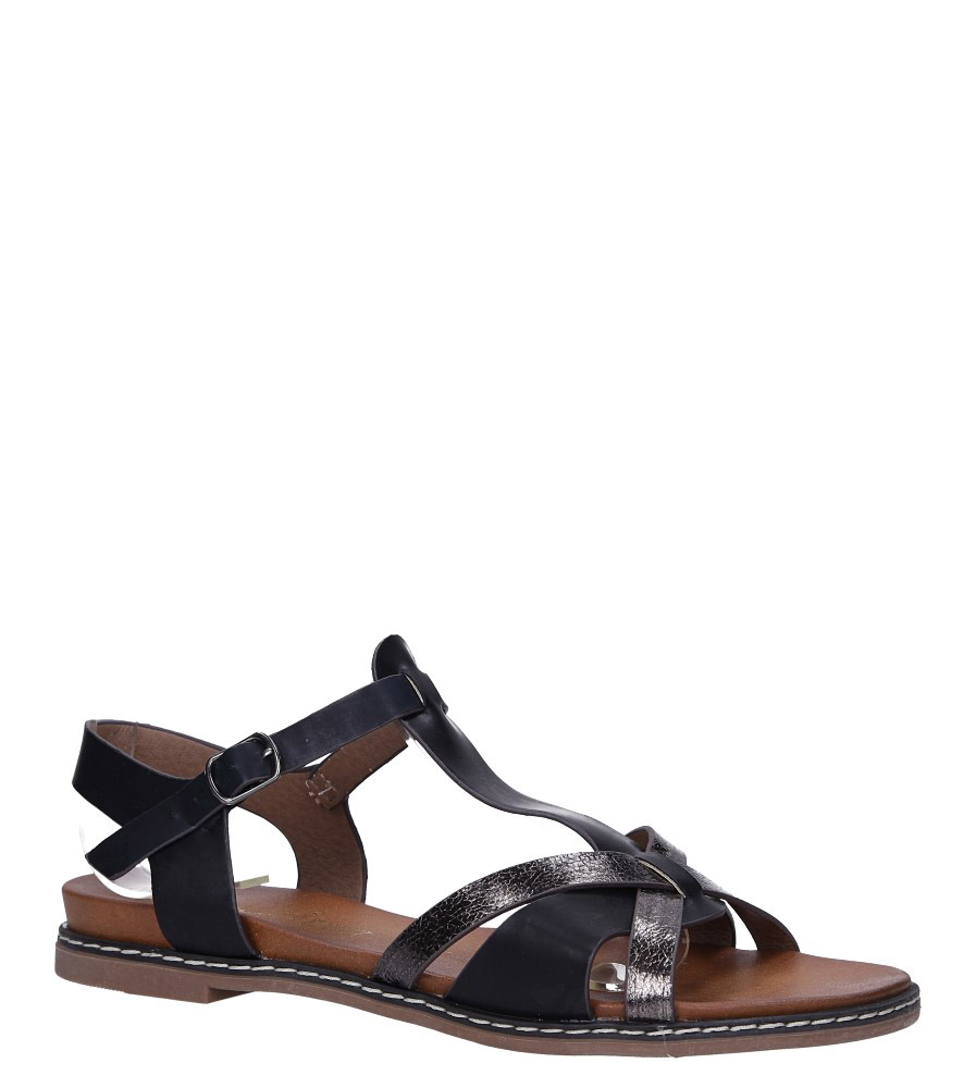 Czarne lekkie sandały płaskie z paskiem przez środek Casu K19X12/B