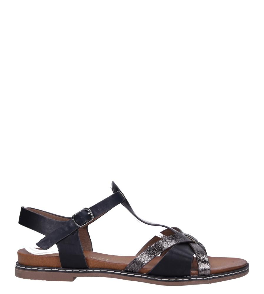 Czarne lekkie sandały płaskie z paskiem przez środek Casu K19X12/B wysokosc_platformy 1.5 cm
