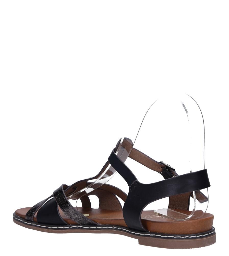 Czarne lekkie sandały płaskie z paskiem przez środek Casu K19X12/B wys_calkowita_buta 11 cm