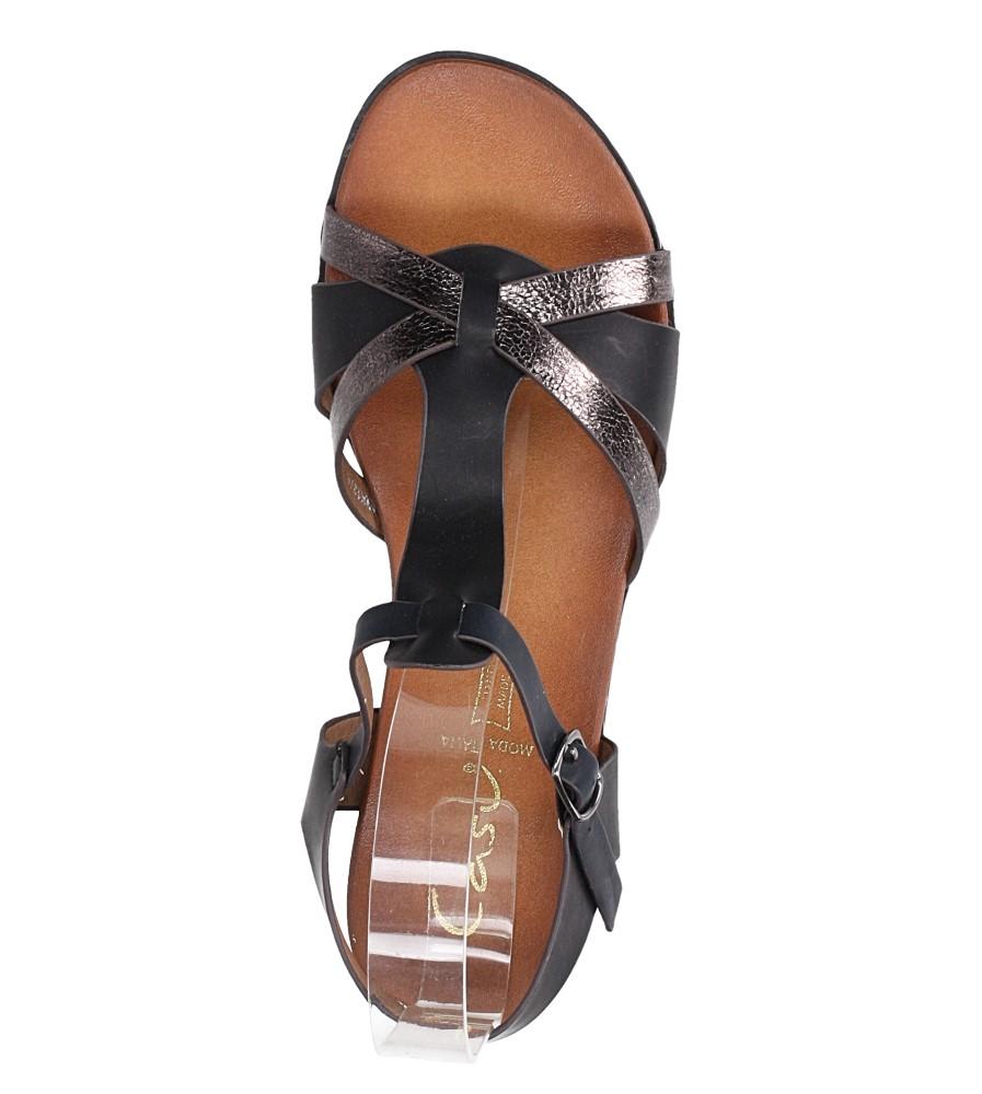 Czarne lekkie sandały płaskie z paskiem przez środek Casu K19X12/B wierzch skóra ekologiczna
