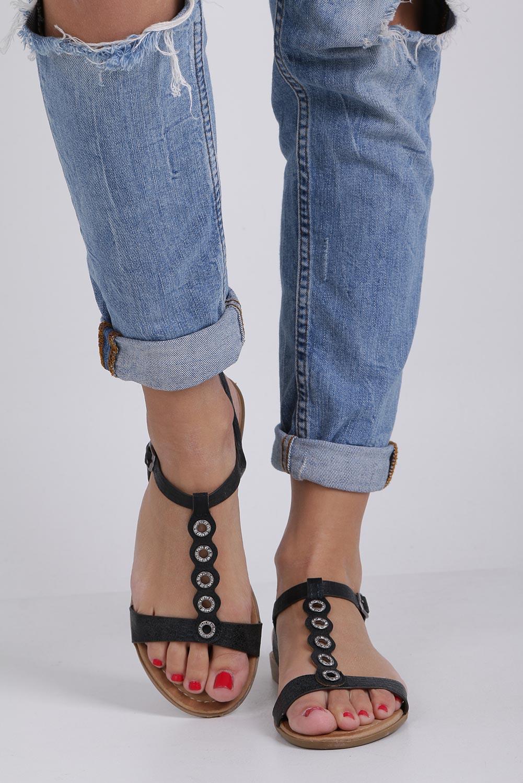 28dd5ad1 Czarne lekkie sandały płaskie z paskiem przez środek i cyrkoniami Casu  K19X10/B producent Casu