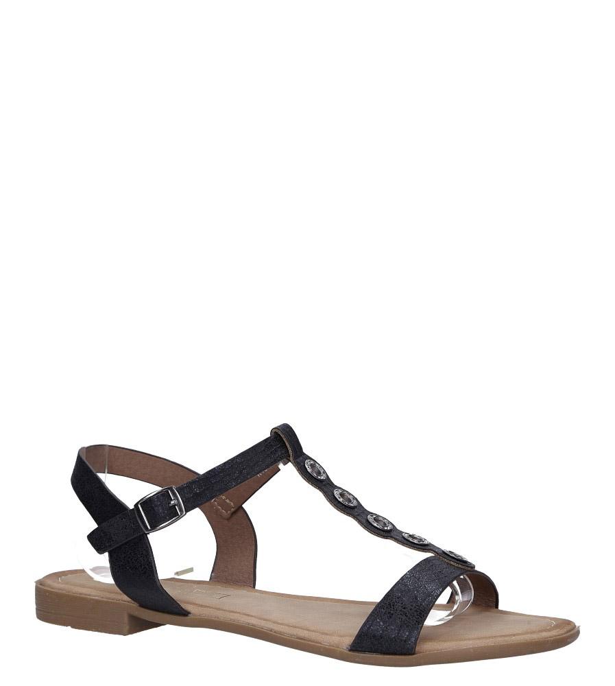 Czarne lekkie sandały płaskie z paskiem przez środek i cyrkoniami Casu K19X10/B