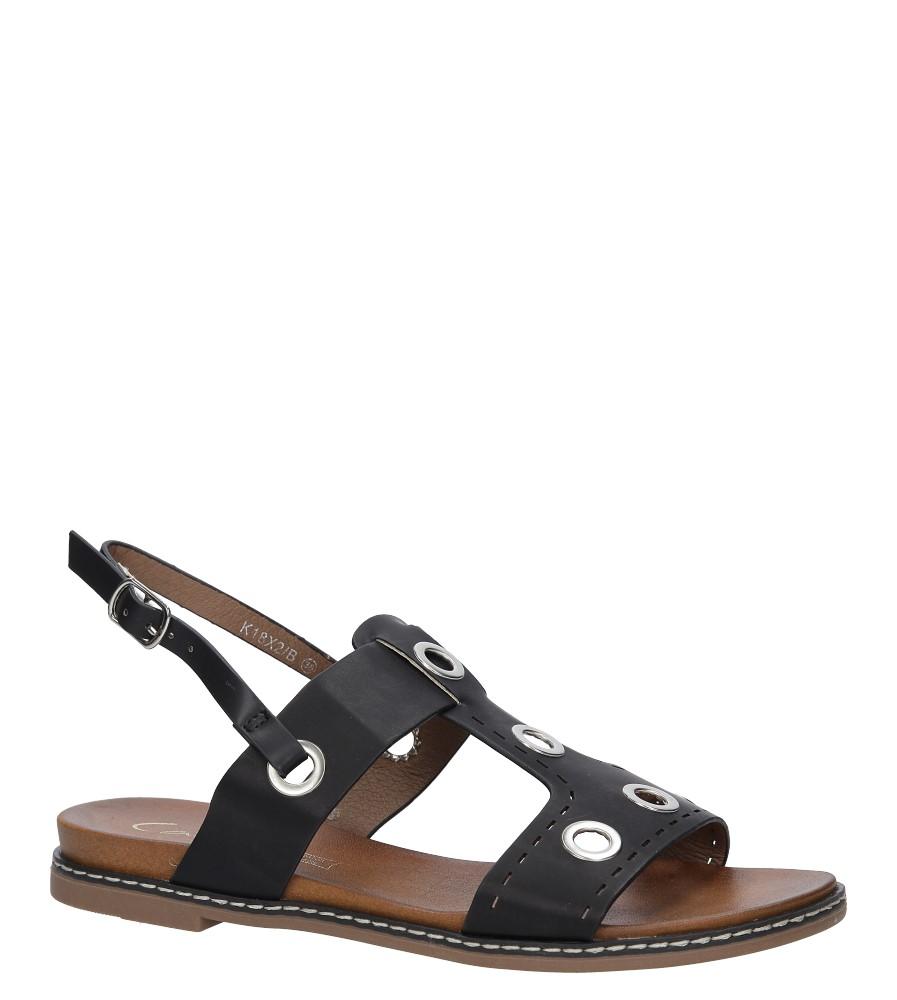 Czarne modne sandały z ozdobnymi metalowymi kółkami Casu K18X2/B producent Casu