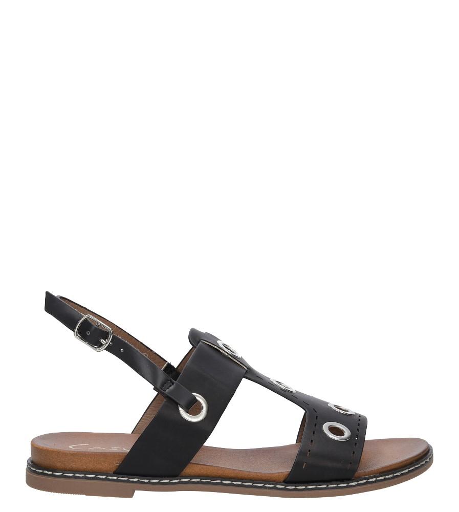 Czarne modne sandały z ozdobnymi metalowymi kółkami Casu K18X2/B sezon Lato
